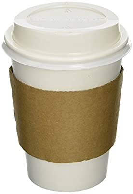 50 Paper Coffee Cup/Disposable Hot Cup 12 oz. WHITE with 50 Cappuccino Lids and 50 Sleeves
