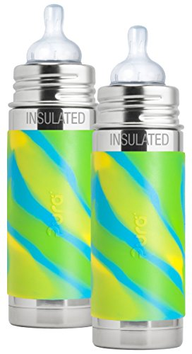 Pura Kiki Stainless Steel Vacuum Insulated Infant Bottle Aqua Swirl Sleeve, 9 Ounce, Set of 2 (Baby Insulated Bottle Sleeve)