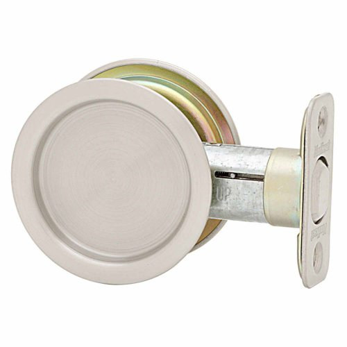 Kwikset 334 Round Hall/Closet Pocket Door Lock in Satin Nickel (Door Pocket Nickel Lock)