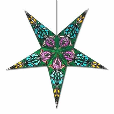 Green Lotus Hanging Paper Star Lantern/Lamp