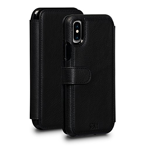 Sena Wallet Book Classic - Premium Leather Drop Safe Wallet Book Folio case for the iPhone X - Black by Sena Cases