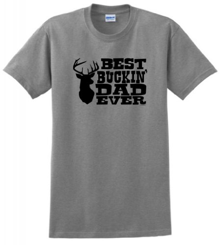 Dad Grandpa Best Buckin' Dad Ever T-Shirt 3XL Sport Grey ()
