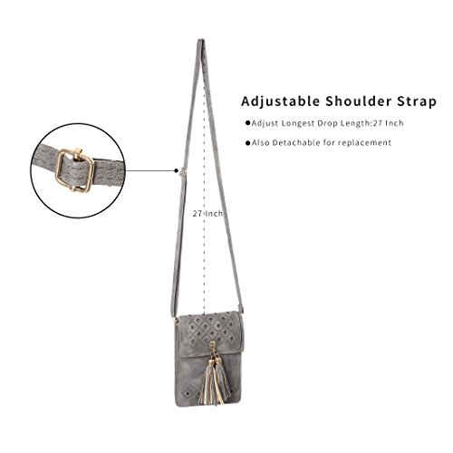 Crossbody Hollow Women Tassels With Texture Bags Purse Cell Wallet Small Phone Gray 0wqSCCxU