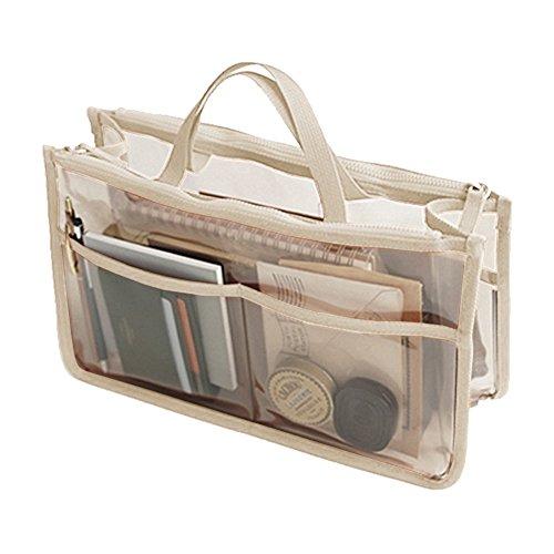 THEE Bolsa Transparente Impermeable de Coméstico Organizador de Viaje beige