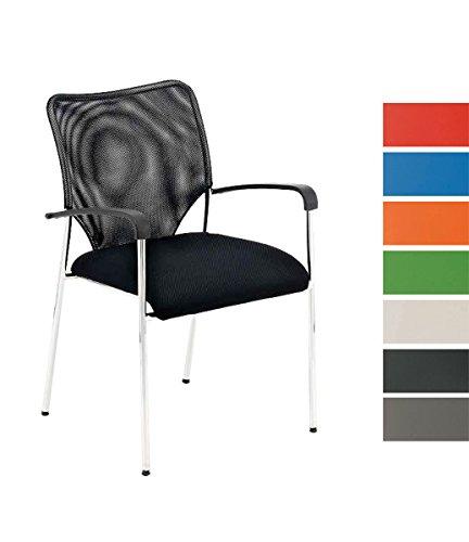 CLP Stuhl CUBA mit Armlehne, Stapelstuhl / Besucherstuhl mit gut gepolsterter Sitzfläche schwarz