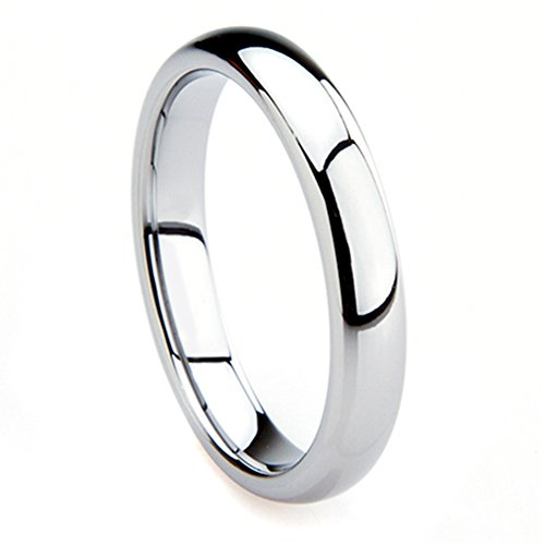 Tungsten Metal 4MM Plain Dome Wedding Band Ring Sz 7.0