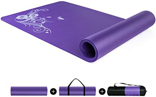 Cajolg 10mm Thick Yoga Mat Gym Mat Yoga Fitness Mat Yoga Mat Strap Yoga Mat Bag You Can Do Yoga Workout Etc At Home Outdoors And While Travel Purple Amazon Co Uk Sports Outdoors