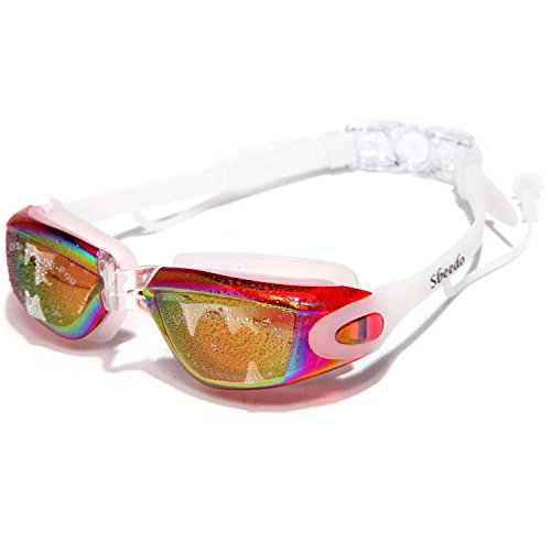 Sbeedo UV Protection Mirror Coated Lenses Swimming Goggles with Siamese Ear Plugs, Red