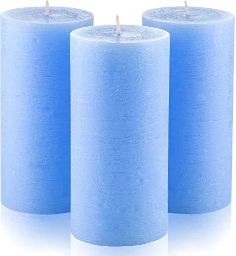 Melt Candle Company Set of 3 Light Blue Pillar Candles 3