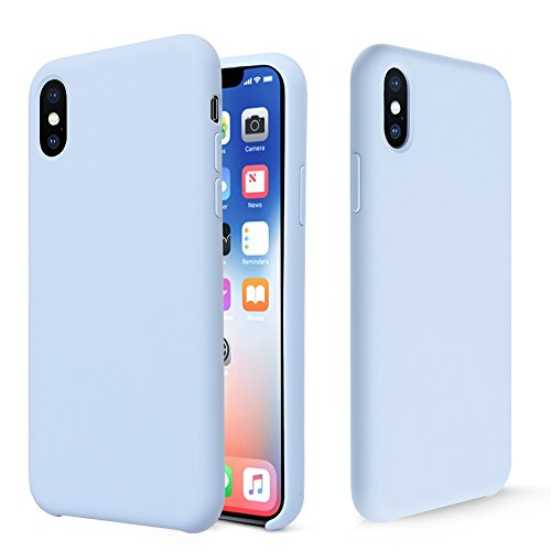 iPhone X Case, Fuleadture Liquid Silicone Gel Rubber Shockproof Mobile Phone Case Slim Soft Protective Cover with Microfiber Cloth Lining Cushion for Apple iPhone X - Light Blue ()