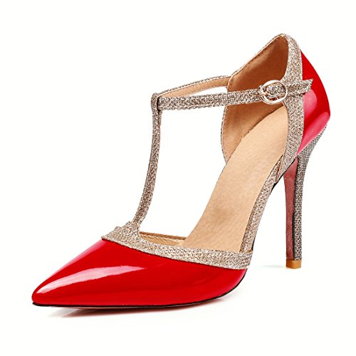 High Sandalias Heel Sexy de Sandalias Hebillas Hueco Sandalias Señalo red Sandals Damas Sandalias wWqEfnHRg
