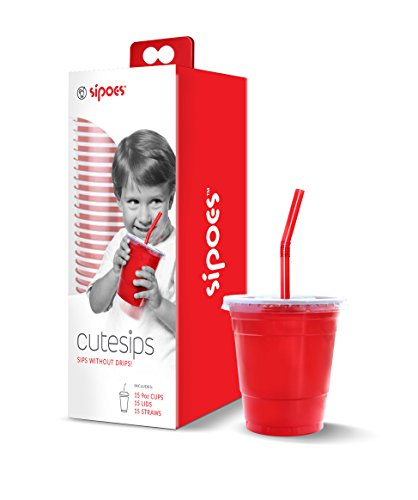 CuteSips Kids Drinking Cups Lids And Straws (By Sipoes TM ) -NEW PRODUCT - Big Red Cup In Small]()