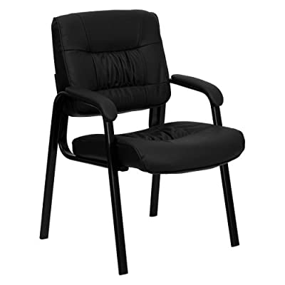 Flash Furniture Black Leather Guest/Reception Chair with Black Frame Finish