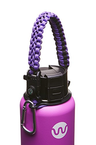 WaterFit Best Paracord Handle - Paracord Carrier Survival Strap Cord with Safety Ring and Carabiner for Hydro Flask Wide Mouth Water Bottles 12oz - 64 oz (DoublePurple)