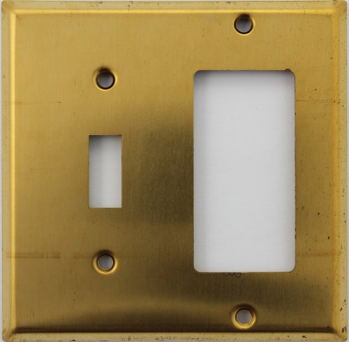 Brass Toggle Switchplate - Raw Unfinished Brass Two Gang Wall Plate - One Toggle Switch One GFI/Rocker Opening
