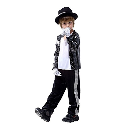 [Michael Jackson Billie jean cosplay halloween Jacket Costume & Glove For Kids (XS(145-155cm))] (Michael Jackson Billie Jean Costumes For Kids)