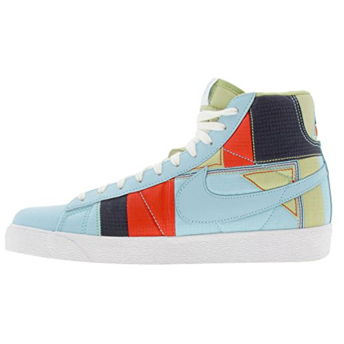 NIKE Womens Blazer Mid Premium Sneakers Powder Blue-White-Comet Red Deal (Large Image)