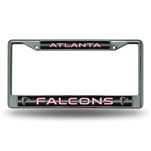 Rico NFL Atlanta Falcons Bling Chrome License Plate Frame with Glitter Accent
