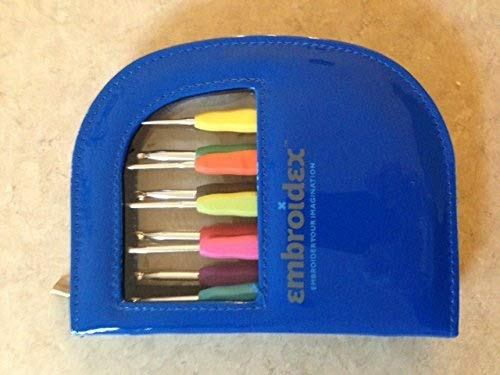 Embroidex 9 Pc Ergonomic Crochet Hooks Needles - Color Coded - Non Slip Cushioned Handles In Beautiful Case by Embroidex (Image #1)