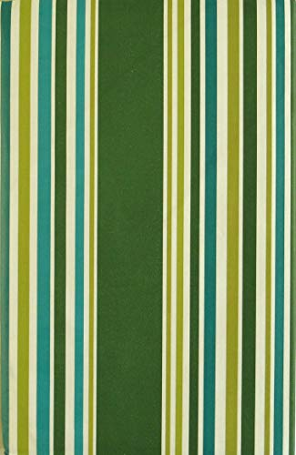 (Elrene Shades of Green and Teal Stripes Vinyl Flannel Back Tablecloth (52