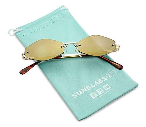 (SunglassUP 90's Retro Vintage Small Tiny Narrow Rimless Oval Geometric Designer Color Tinted Sun Glasses (Gold Frame | Bronze)