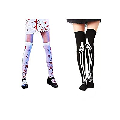 1 Pair Bloody Stockings and Horrible Bone socks, Women's Bloody Zombie Thigh High Hosiery For Halloween Party Cosplay Prop Decoration Party Favors