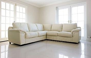 Amy Corner Sofa Real Leather Cream Amazon Co Uk Kitchen Home