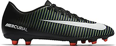 Nike Men's Mercurial Vortex III Fg Black/White Paramount Blue Soccer Cleat 8 Men US