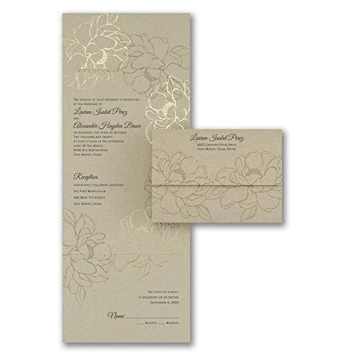 Wedding Invitations, Natural Gold - Seal 'n Send -