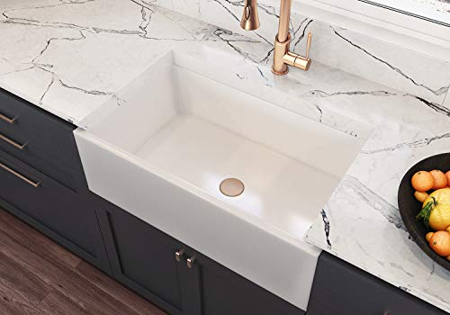 (Treillage Authentic Fireclay Sinks by MOCCOA, Reversible Apron Front Sink 30 Farmhouse Sink White)