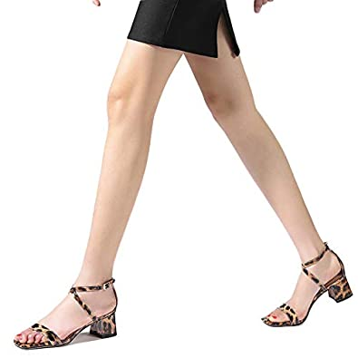 51afa7a04a11d Shoe'N Tale Women's Snake Print Ankle Criss Cross Strap Low Block Square  Toe Chunky