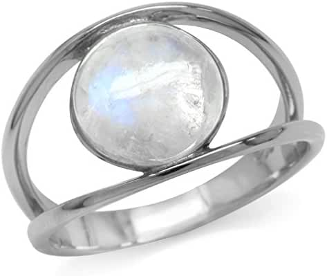 Natural Moonstone White Gold Plated 925 Sterling Silver Solitaire Ring