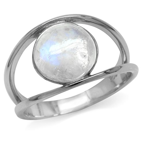 Natural Moonstone White Gold Plated 925 Sterling Silver Solitaire Ring Size 8