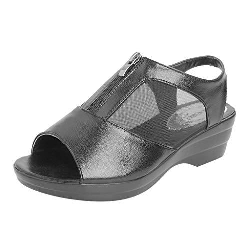 Toimothcn Women's Zipper Wedge Sandals Mesh Stitching Front Open Toe Casual Dress Shoes(Black,US:7)
