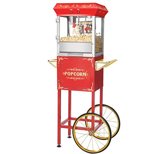 Great Northern Popcorn Red 6 oz. Ounce Foundation Vintage Style Popcorn Machine and Cart (Popcorn Machine And Cart)