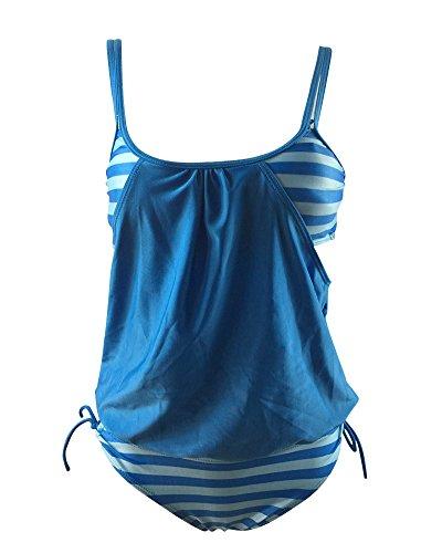 ShiFan Azzurro Bagno Tankini Forti Donna Taglie Da Beachwear Pezzi Costumi Due Mare P4nqrP