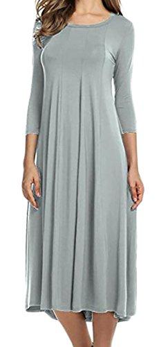 Orlo 4 Cotone Manica Vestito Solido Del Cromoncent Girocollo Grigio Womens Metà Di 3 Colore Pieghettato xwvqZHHI