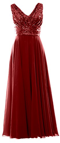 Bridesmaid Dress Neck Wedding MACloth V Evening Long Chiffon Sequin Burgunderrot Women Gown UnCwxqg