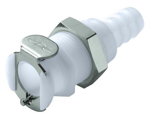 "Colder PLCD16005 Acetal Tube Fitting, Coupler, Shutoff, Panel Mount, 1/4"" Flow Coupler x 5/16"" Barb"