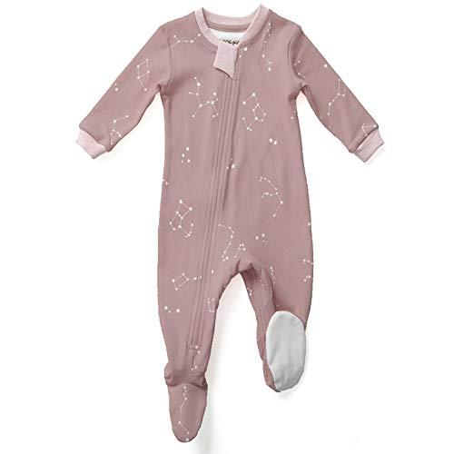 ZippyJamz Organic Baby Footed PJs w/Inseam Zipper - Galaxy Love - Pink (18-24 Mos)