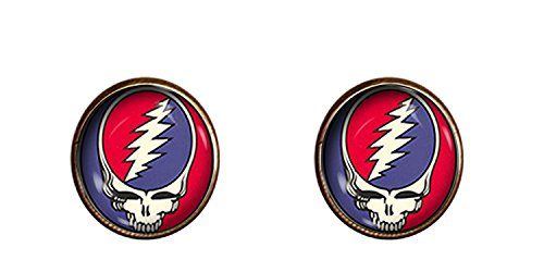 Grateful Dead Skull cuff links 16mm Touch of Grey jewelry Jerry Garcia gift charm
