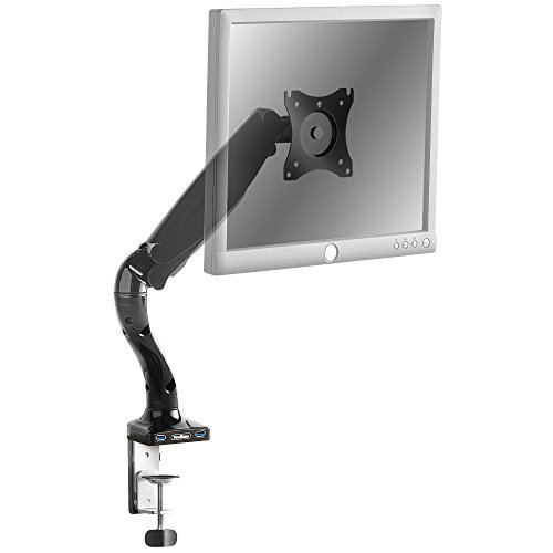 "VonHaus Premium Single Monitor Mount/Articulating Monitor Arm With 2 USB Ports/LED LCD Mounting Bracket For 13-27"" Screen/Gas Spring Technology For 360° (Single Arm Articulating Mount)"