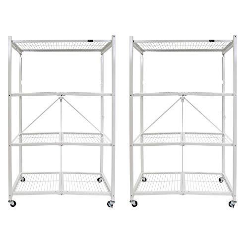 Origami 4 Shelf Large Wheeled Heavy Duty Storage Organization Unit, White