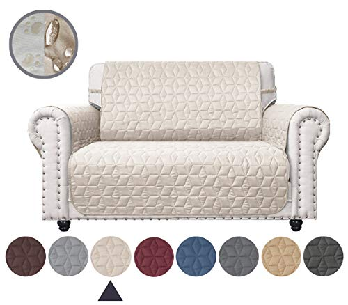 Ameritex Loveseat Cover Water-Resistant Quilted Furniture Protector with Back Nonslip Paws Slipcover for Dogs, Kids, Pets Loveseat Slipcover Stay in Place for Leather (Beige, 46