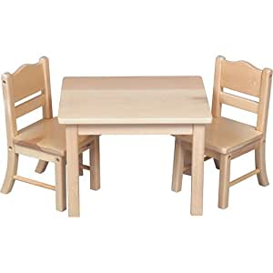 Precious Doll Table and Chair Set, Natural