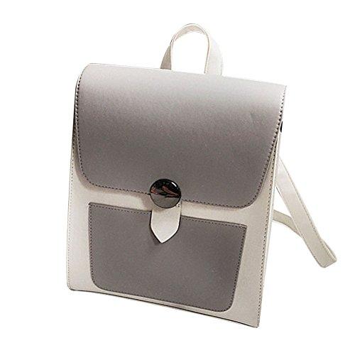 Majome Bolso de hombro simple del estudiante universitario de la mochila de la PU para las muchachas de las mujeres Gris