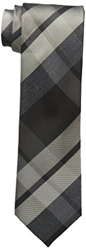 Cole Tie - Kenneth Cole REACTION Men's Glacier Plaid Tie, black, One Size