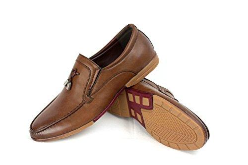 HOMBRE SIN CIERRES Inteligente Zapatos Casual Borla Mocasines Café