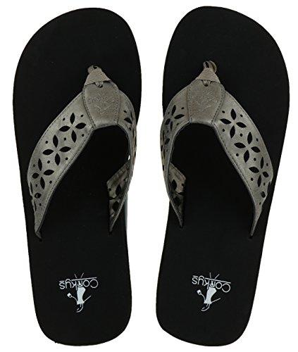 Corky's Footwear Women's Luna Flip Flop Sandals (Brushed Gold, (Brushed Gold Footwear)