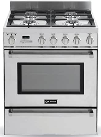 """Verona VEFSGE304PBU 30"""" Freestanding Dual Fuel Range with 4 Sealed Burners 3.0 cu. ft. Capacity Self Cleaning Warming Drawer & Electronic Ignition in"""